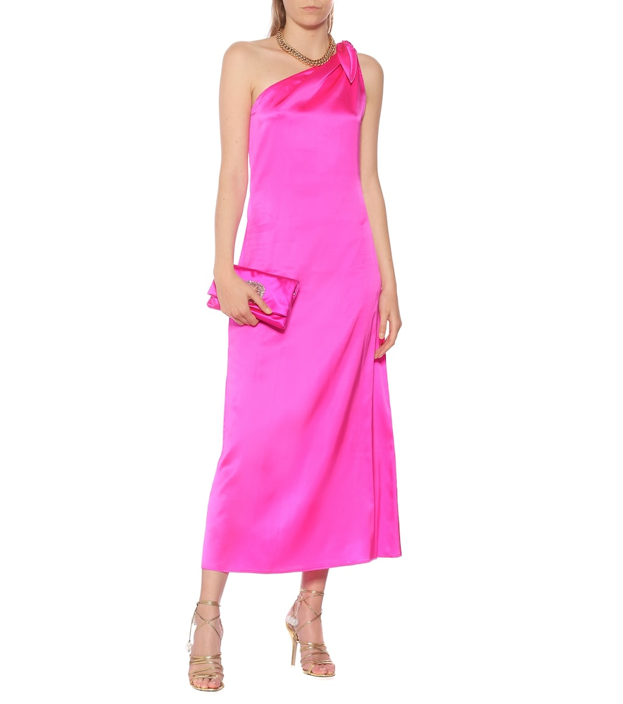 Lucy silk-satin one-shoulder dress by Bernadette