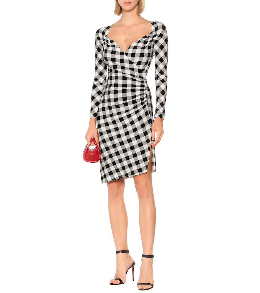 Exclusive to Mytheresa - Checked jersey asymmetric dress by Norma Kamali