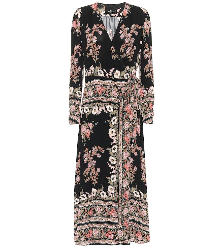 Robe portefeuille midi à fleurs - Etro - Modalova
