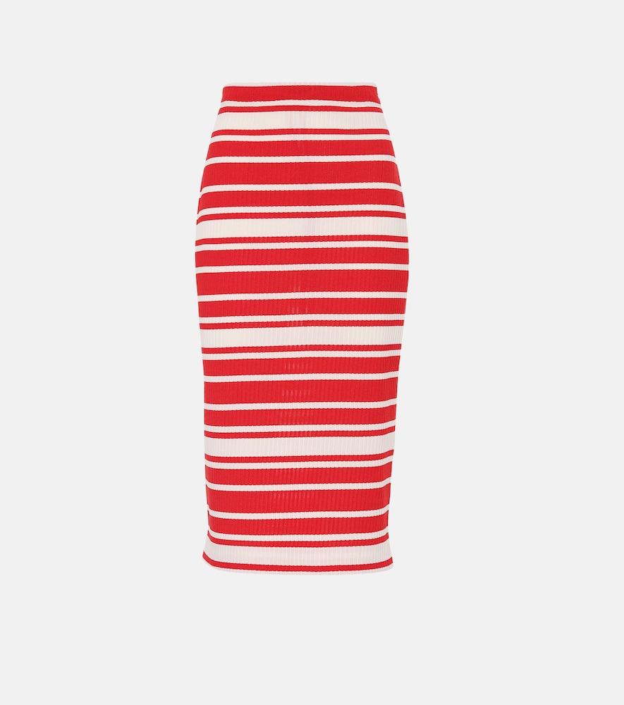 PRADA Striped Ribbed-Knit Midi Skirt, Red