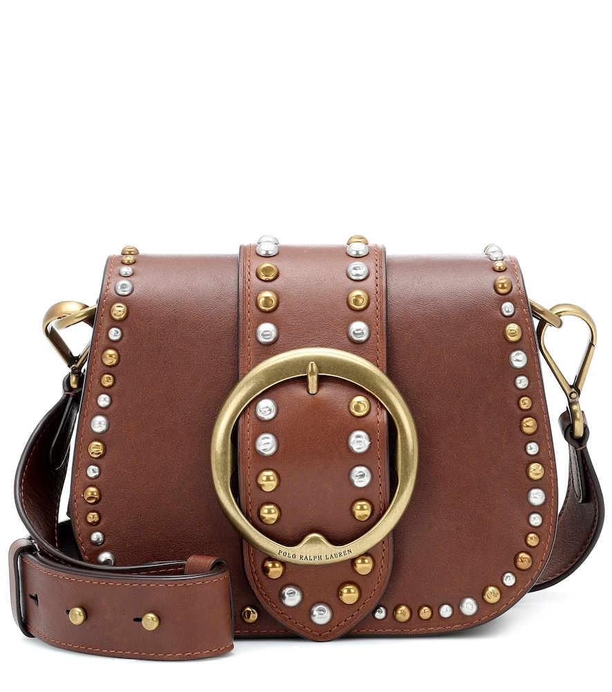 Shop Polo Ralph Lauren Lennox Leather Crossbody Bag In Brown
