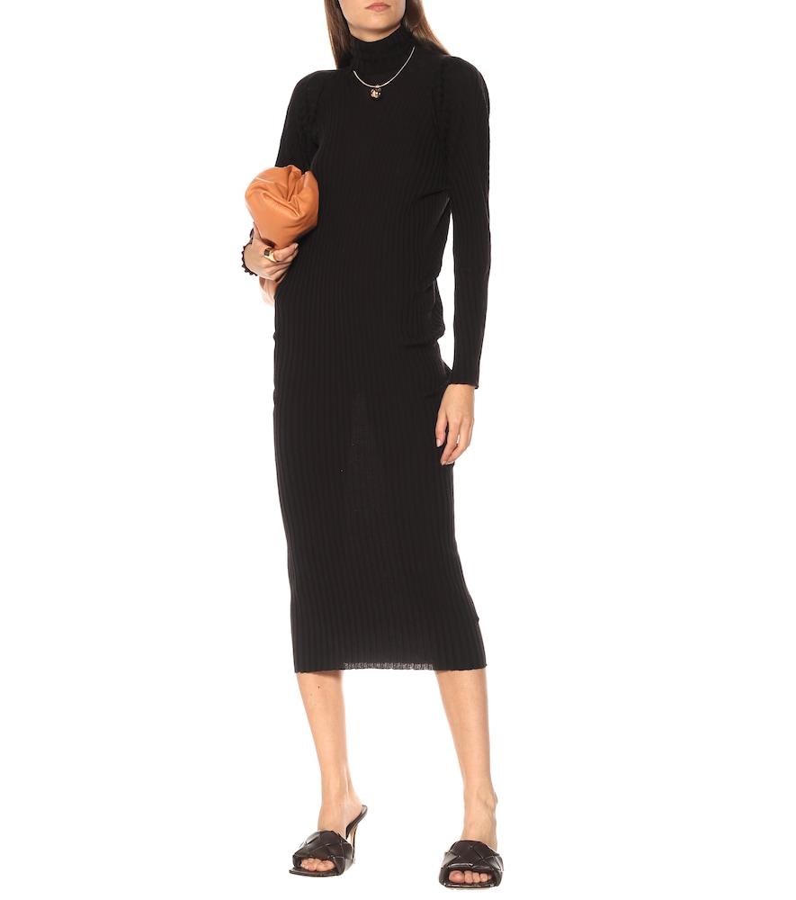 Ribbed-knit wool turtleneck dress by Bottega Veneta
