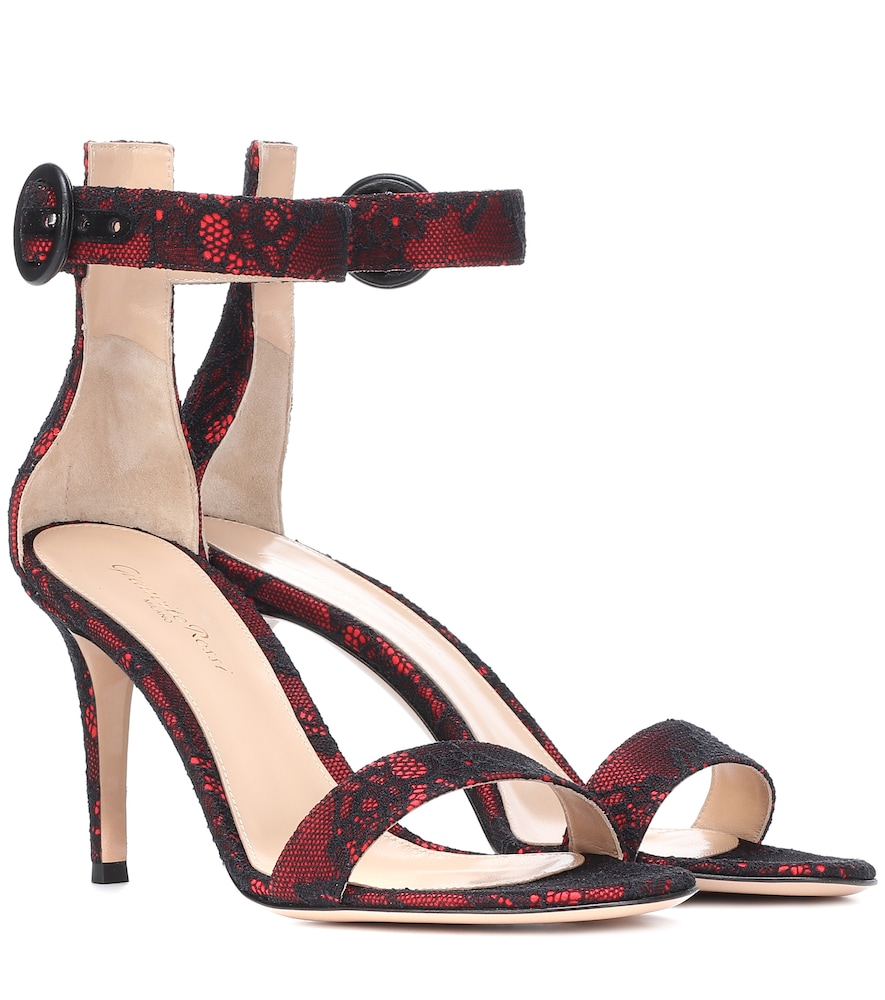 Portofino 85 lace and satin sandals Gianvito Rossi YG353Sa