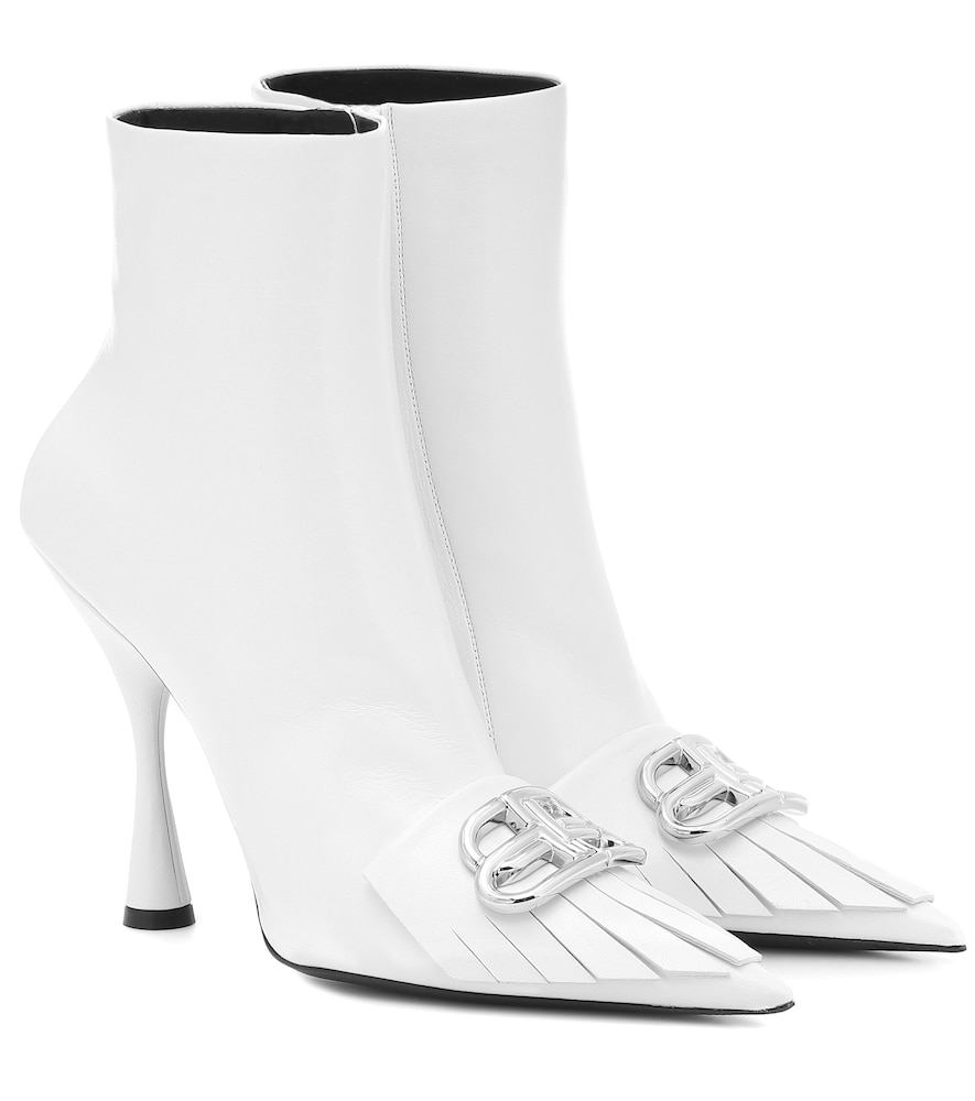 Balenciaga Fringe Knife Leather Ankle Boots In White