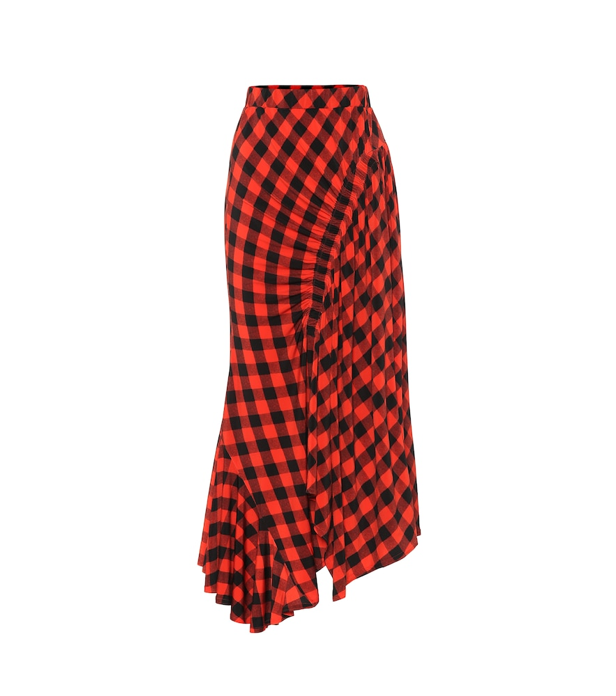 Hayat checked midi skirt