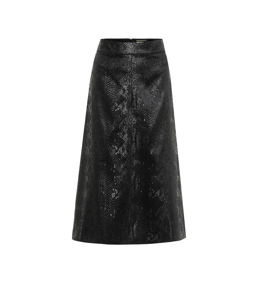 Snake-effect high-rise velvet midi skirt