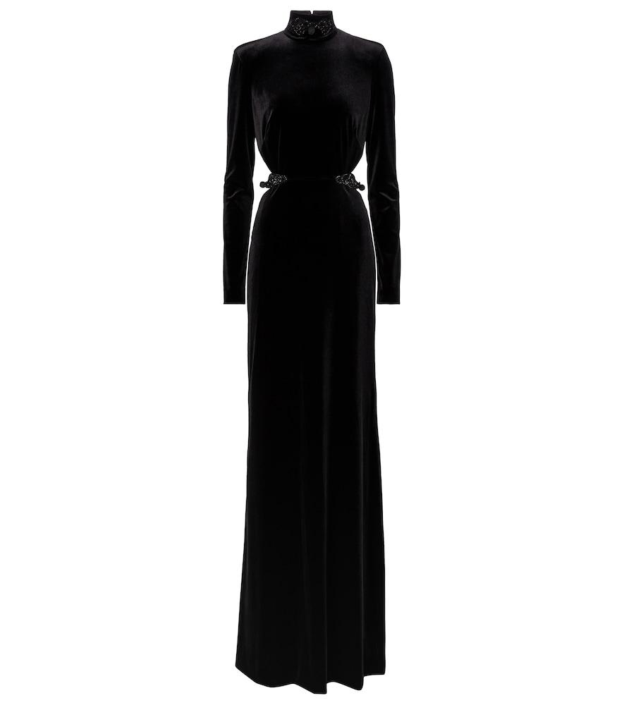 Embellished velvet gown