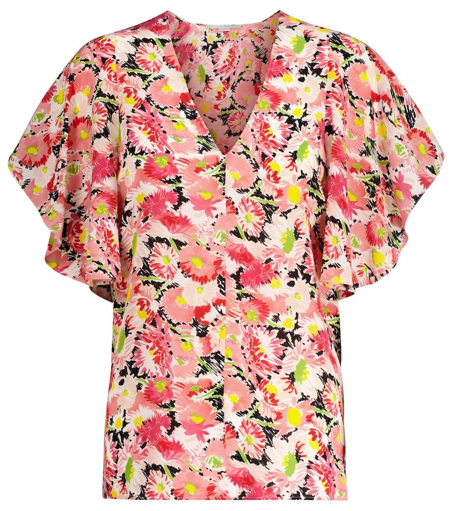Floral silk crêpe blouse