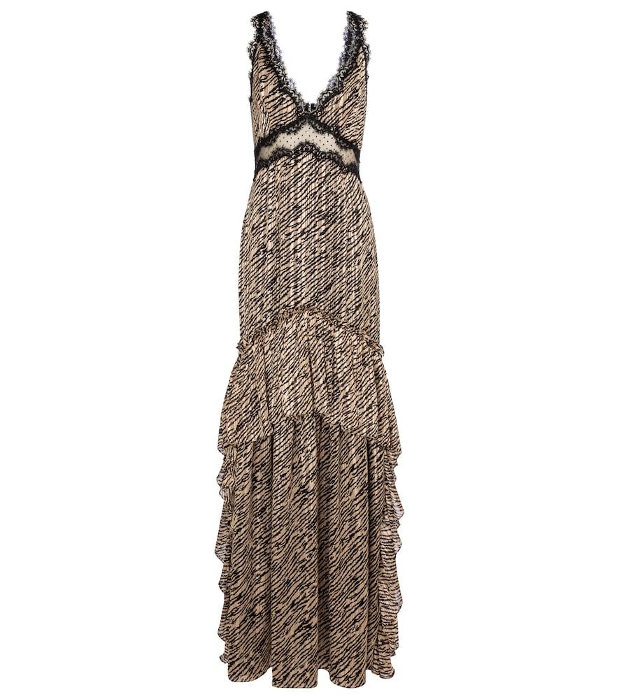 Farah tiger-print chiffon gown