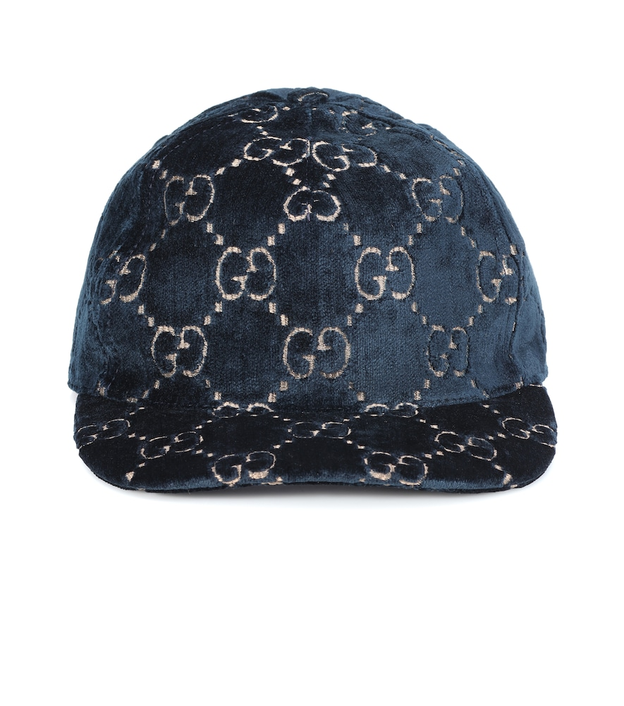 5c5c6d17b39 Fashion Designer Hats Gg Velvet Baseball Cap In Blue