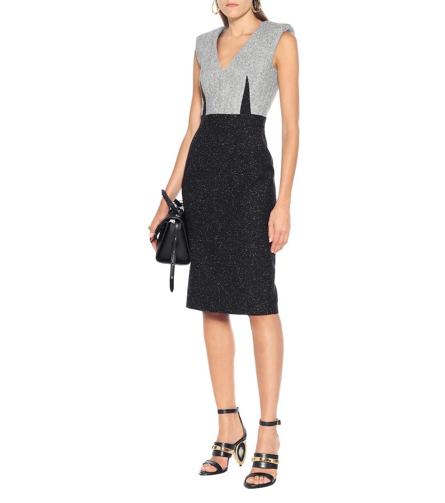 Wool-blend tweed shift dress by Alexander McQueen