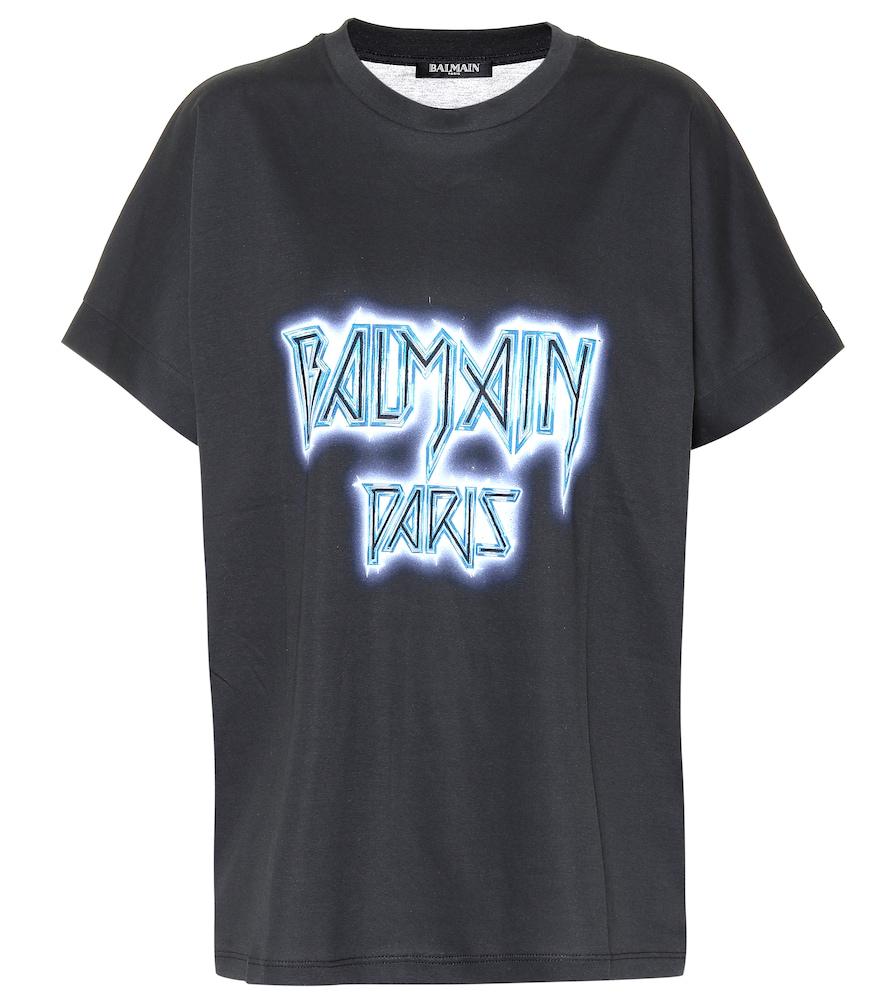 Balmain Oversized Logo Print Cotton T-Shirt In Black