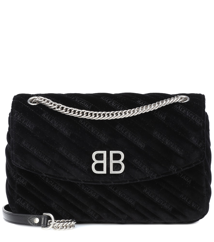 BALENCIAGA CHAIN ROUND M VELVET SHOULDER BAG