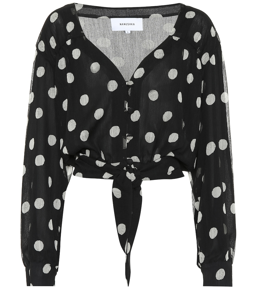 Amulet Polka Dot Tech Chiffon Blouse