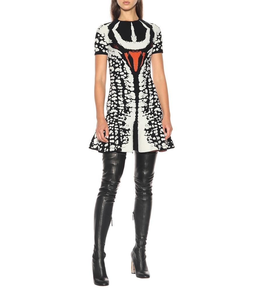 Beetle flared knitted minidress by Alexander McQueen