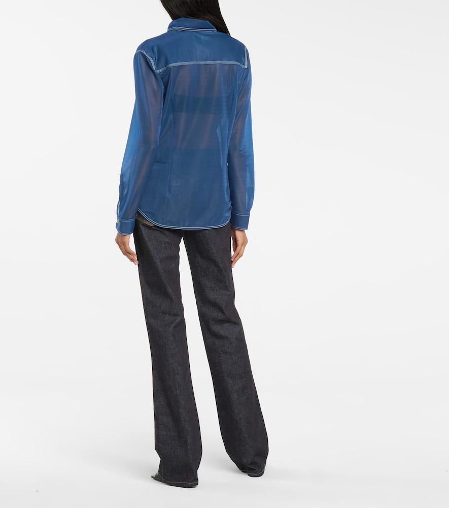 BURBERRY Clothing SEMI-SHEER DENIM-TRIMMED SHIRT