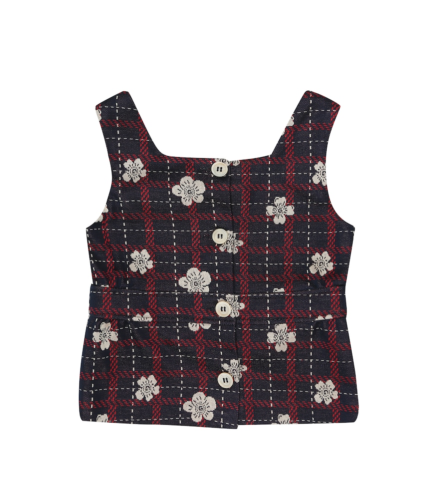 Floral checked cotton jersey top