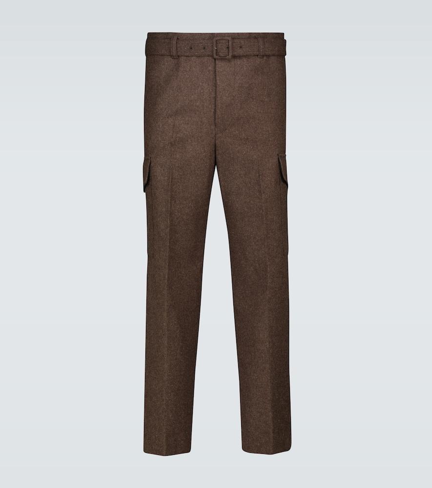 Shetland wool belted pants
