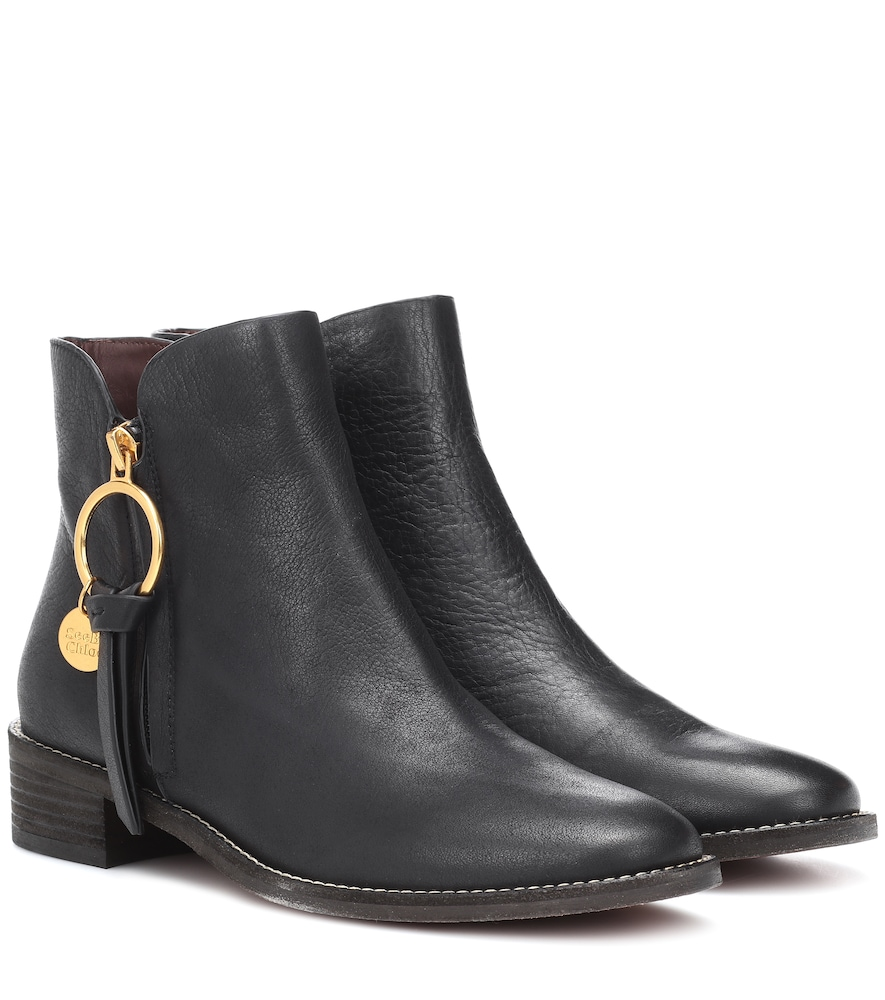 Louise Flat Leather Ankle Boots, Black