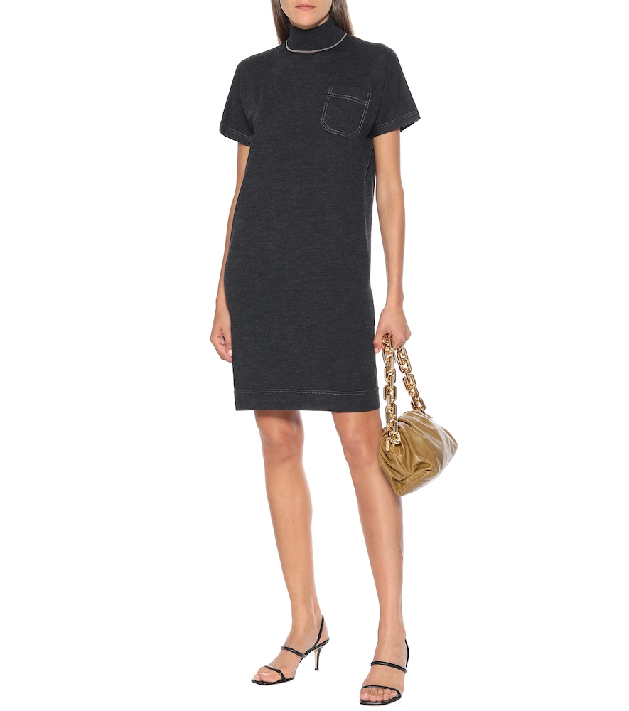 Wool and cashmere knit mockneck dress by Brunello Cucinelli