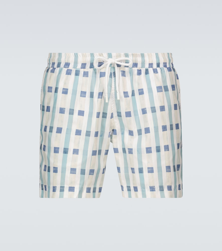 Art Deco checked swim shorts