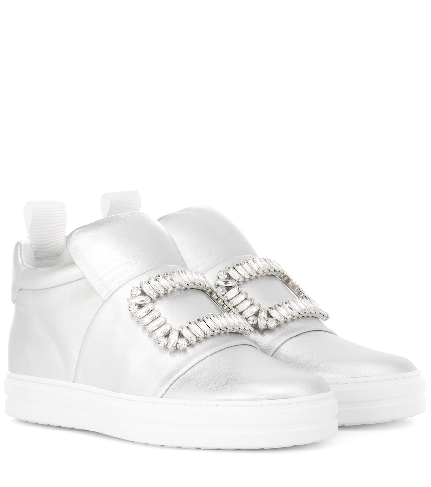 Sneaky Viv' Metallic Leather Sneakers in Silver