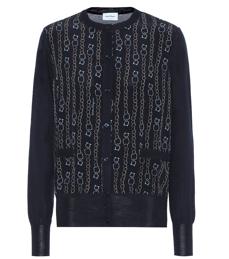 SALVATORE FERRAGAMO | Printed Silk And Wool Cardigan | Goxip