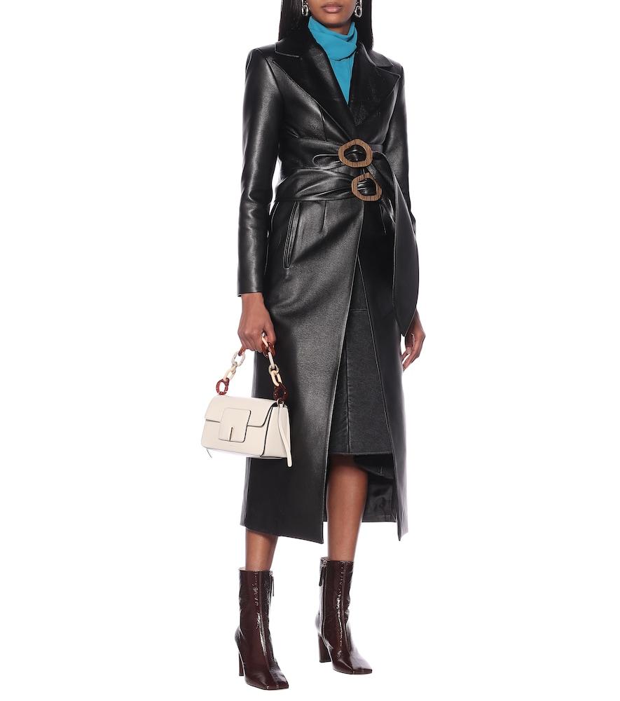 Double-belted faux-leather coat by Matériel Tbilisi