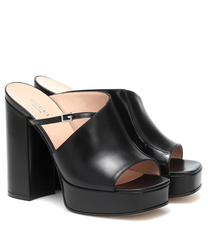 Mules à plateau en cuir - Gucci - Modalova