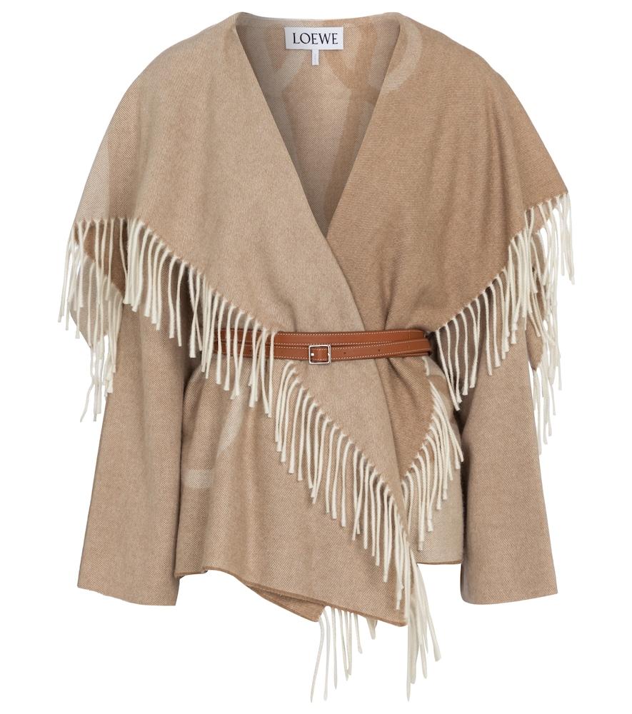 Châle à franges en laine et cachemire