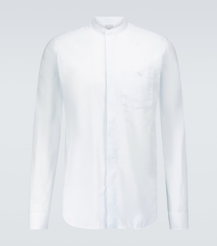 Band collar long-sleeved shirt