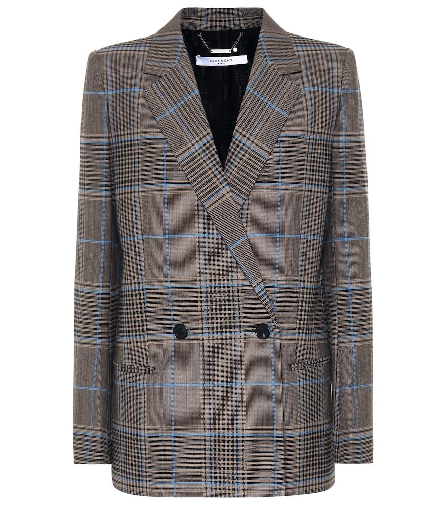 Blazer en laine et coton mélangés à carreaux - Givenchy - Modalova