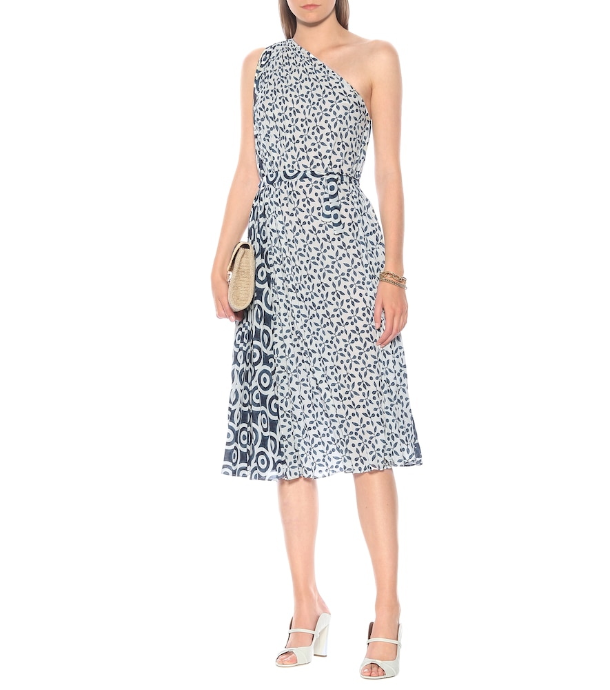 Printed georgette one-shoulder midi dress by Oscar de la Renta