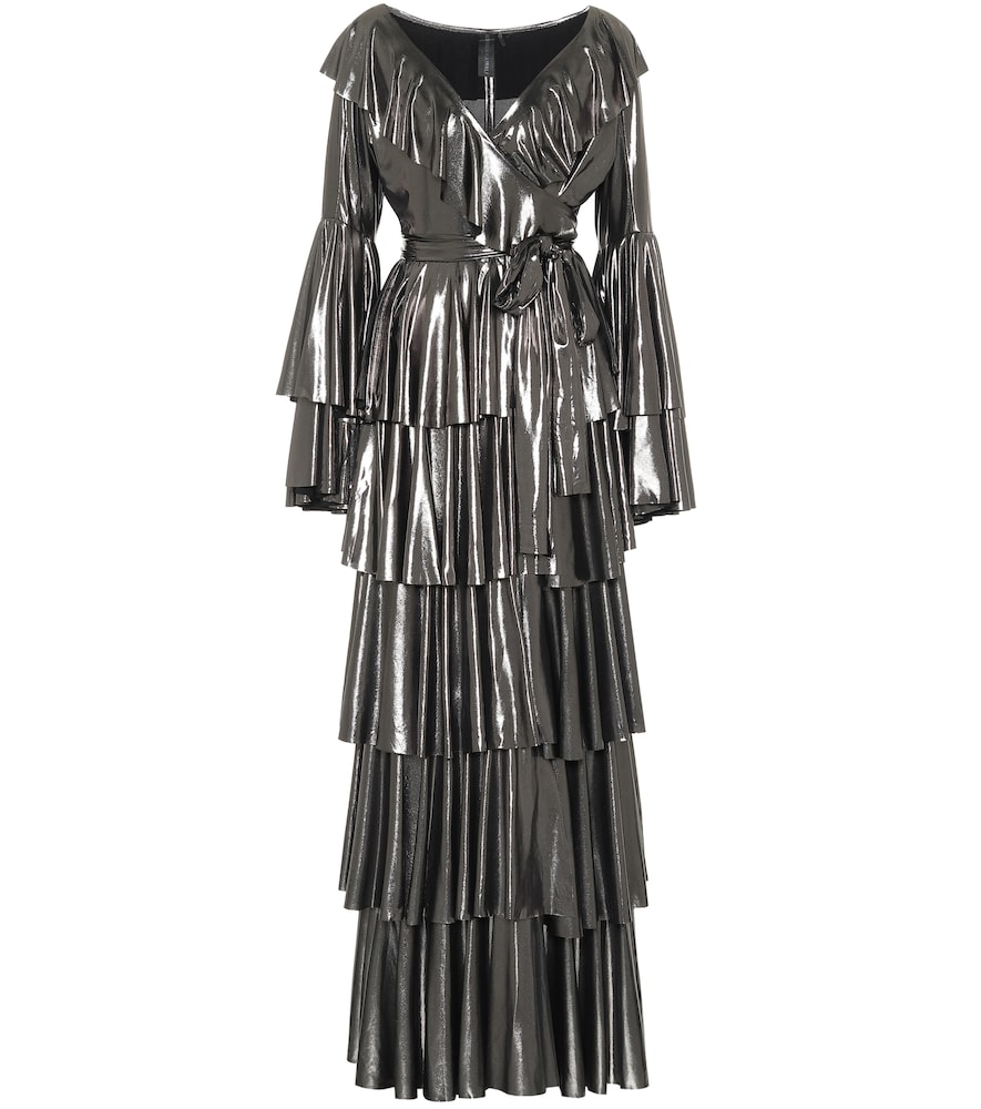 Ruffled lam?maxi dress by Norma Kamali