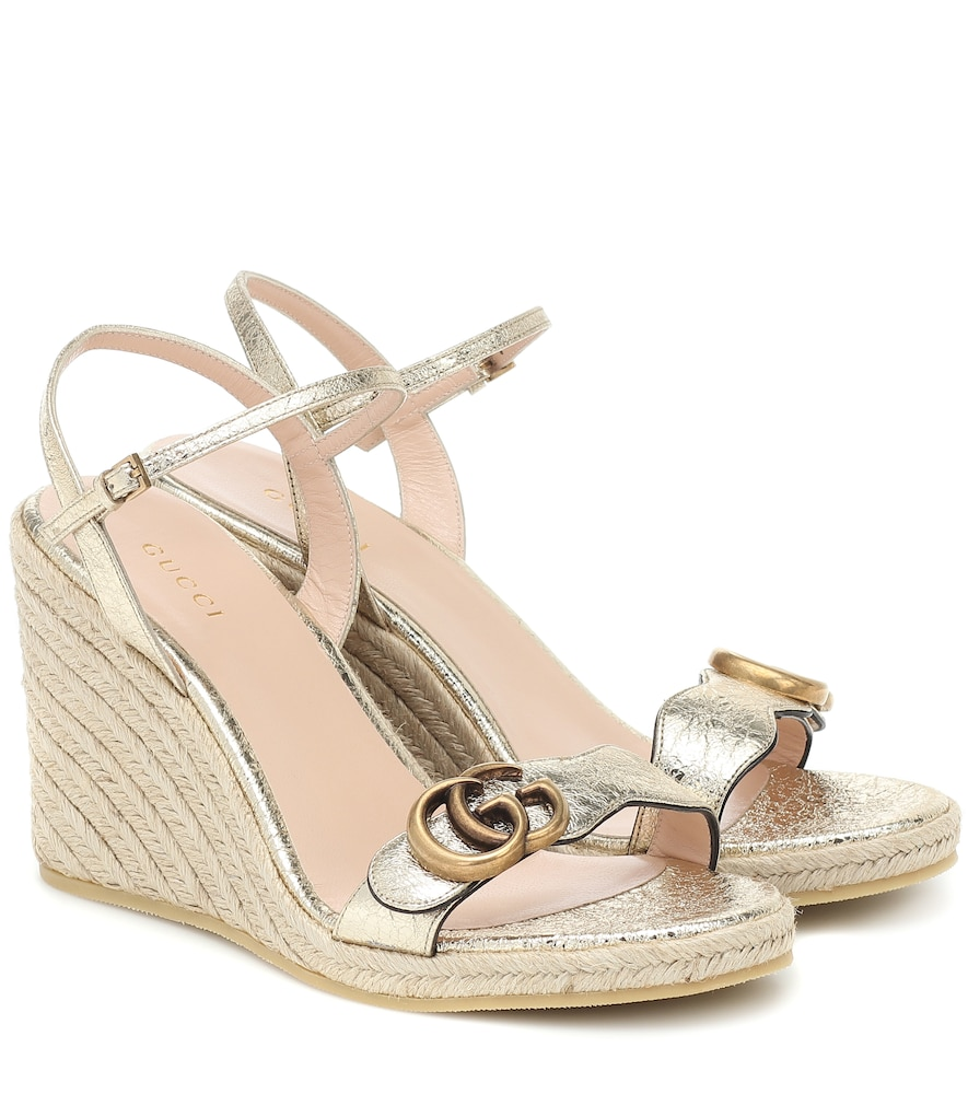 Double G leather espadrille wedges