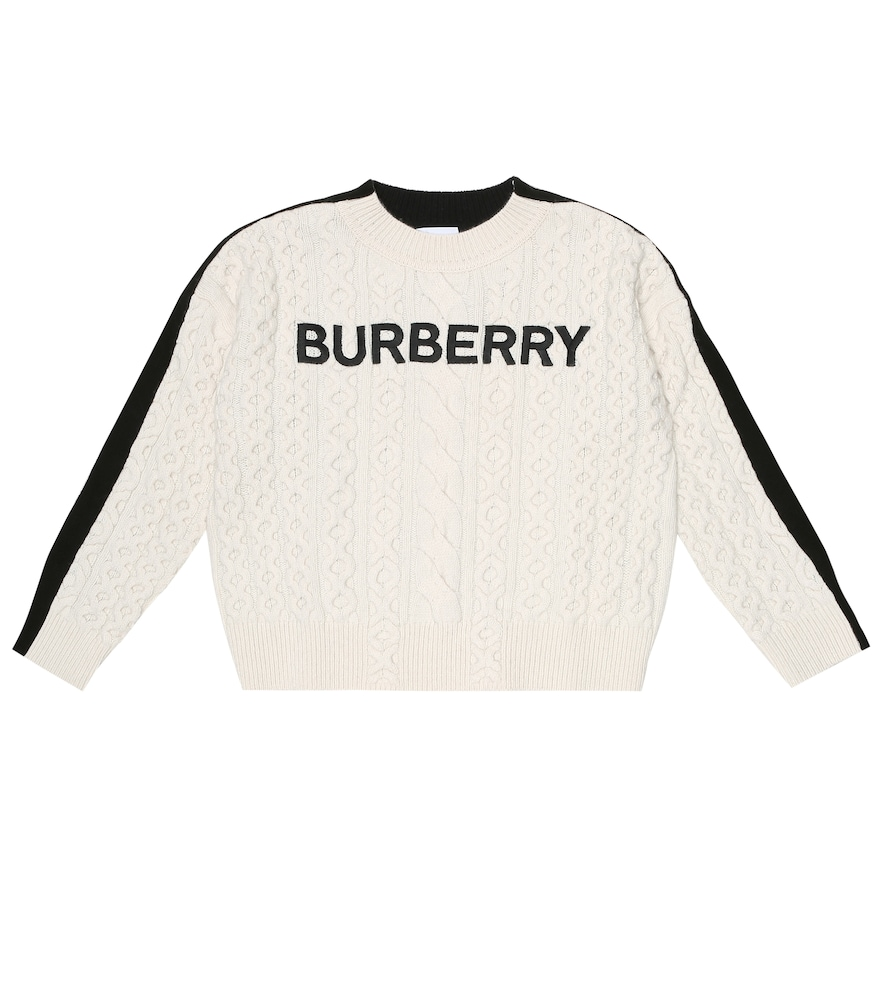 Burberry Kids' Stef Embroidered Logo Cable Knit Wool Blend Sweater In White