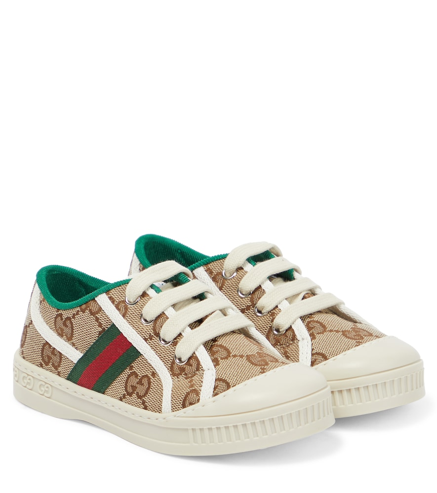 Gucci Babies' Tennis 1977 Canvas Sneakers In Brown