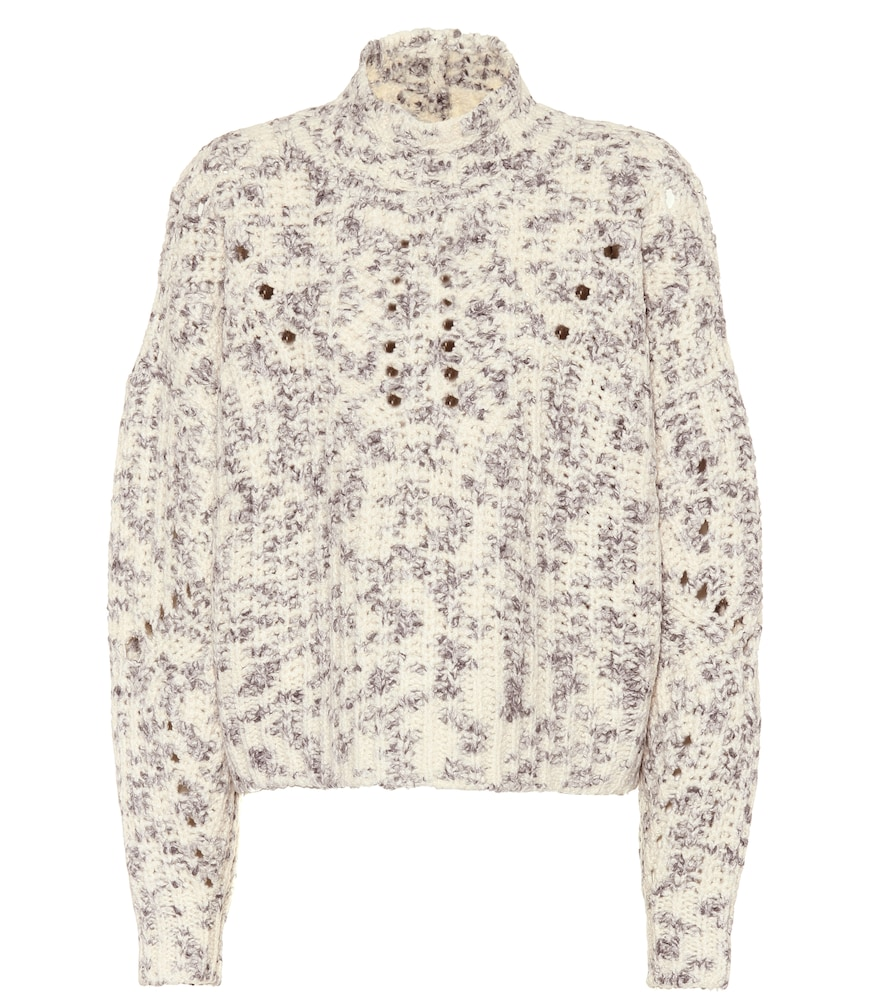 Isabel Marant High-Neck MÉLange Wool Knit Pullover Sweater In White