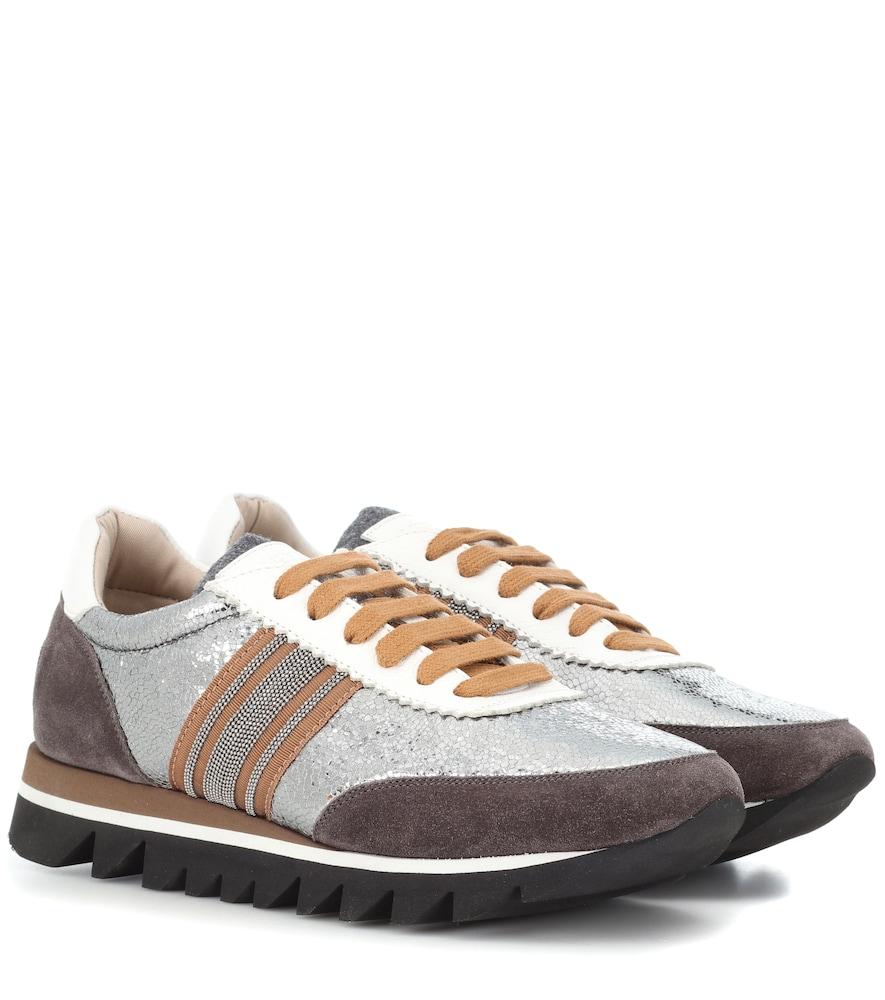 Metallic Leather Runner Sneakers in Brown