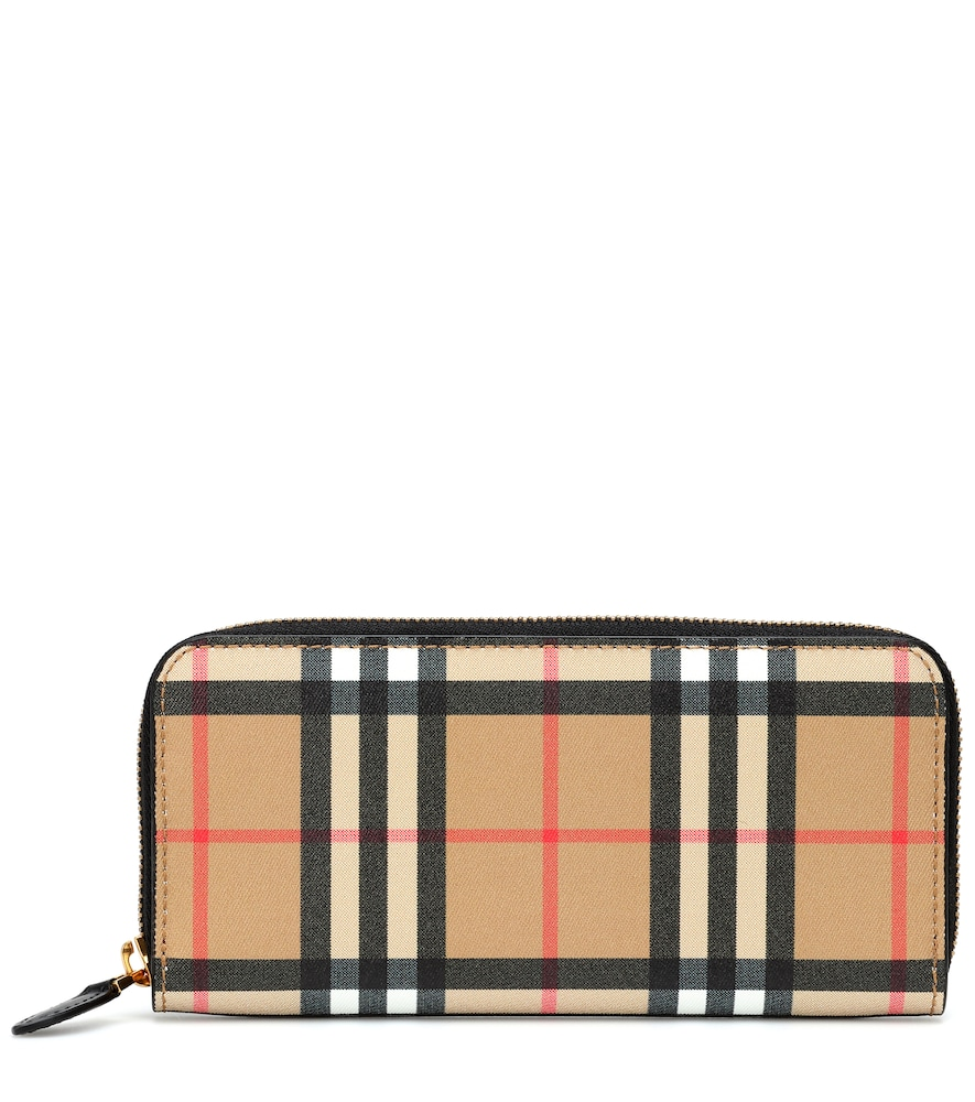 Vintage Check And Leather Ziparound Wallet in Beige