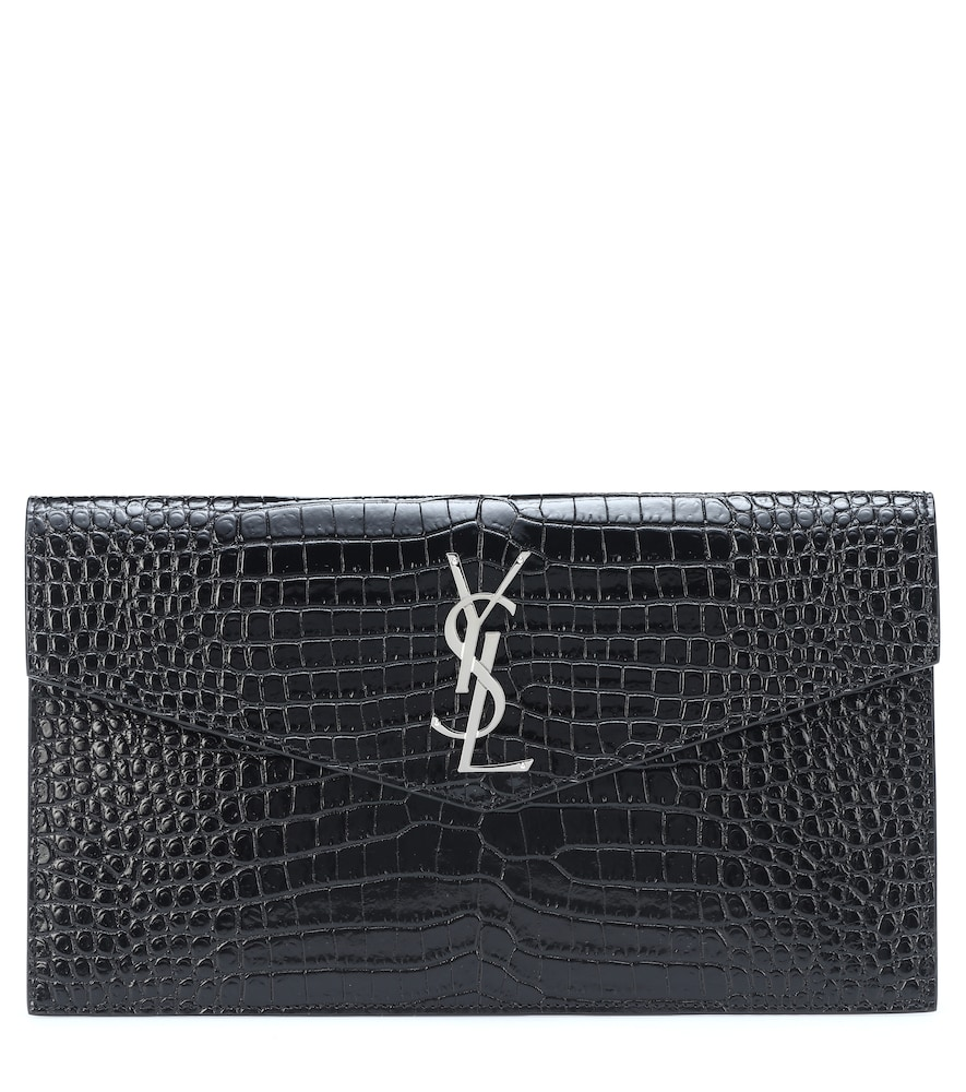 SAINT LAURENT | Uptown Embossed Leather Clutch | Goxip