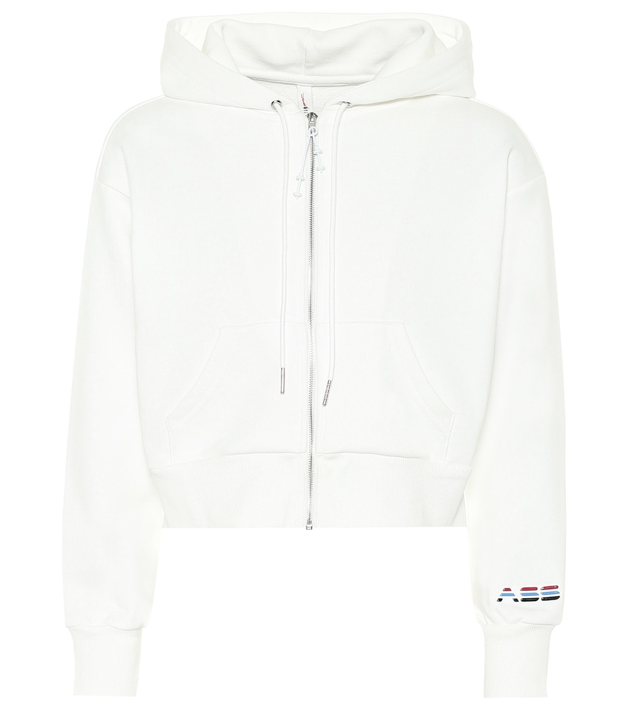 Cropped cotton-blend hoodie