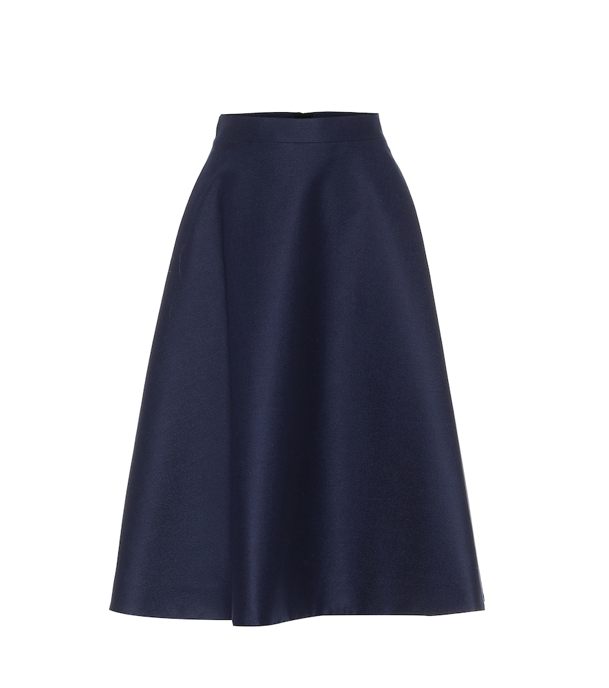 Stretch-wool midi skirt
