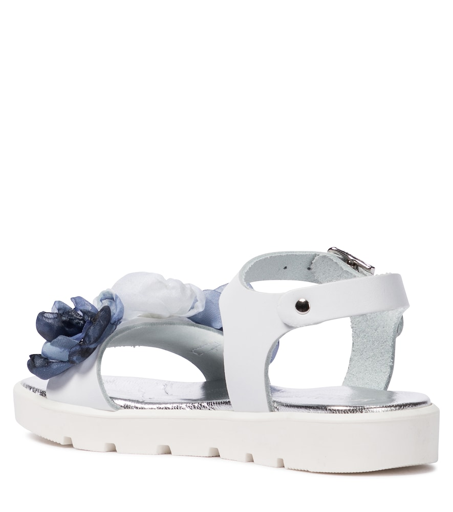 MONNALISA Leathers FLORAL LEATHER SANDALS