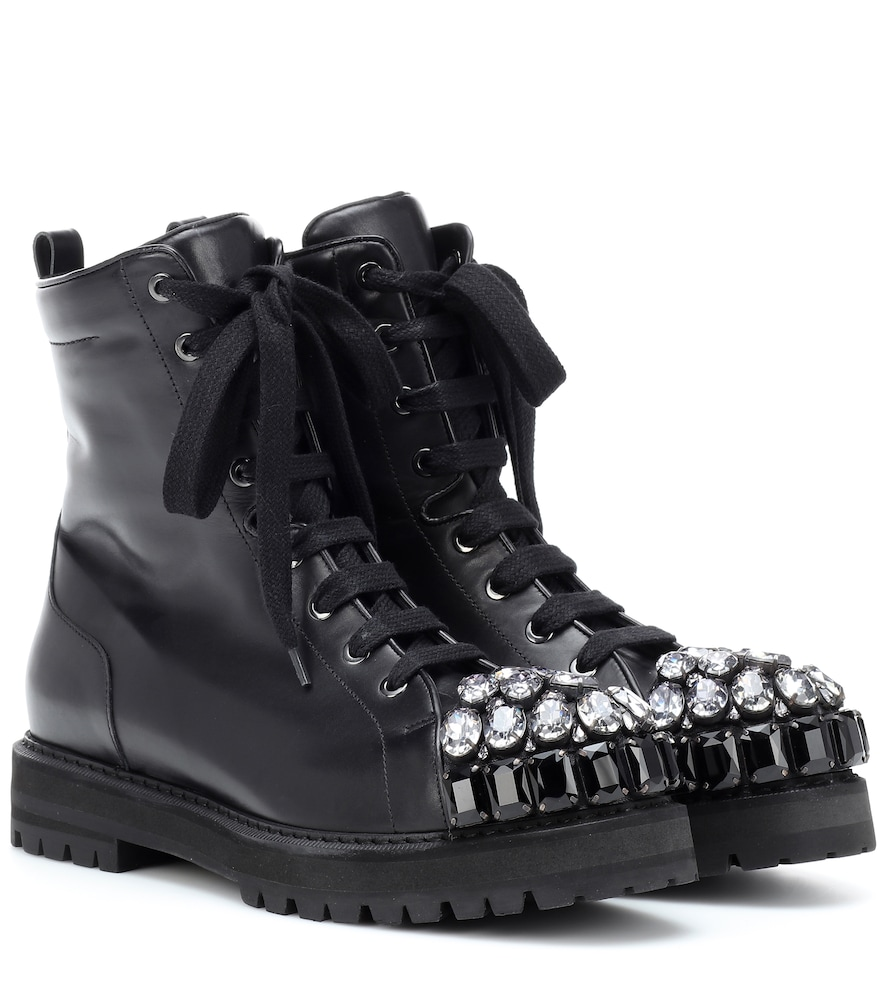 ROCHAS Crystal-Embellished Leather Ankle Boots in Black