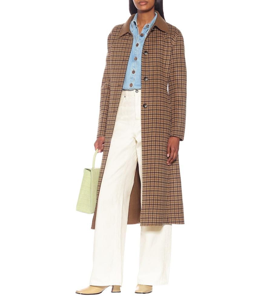 Sira checked wool and silk coat by Nanushka
