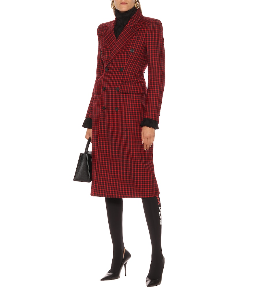 Hourglass checked wool coat by Balenciaga