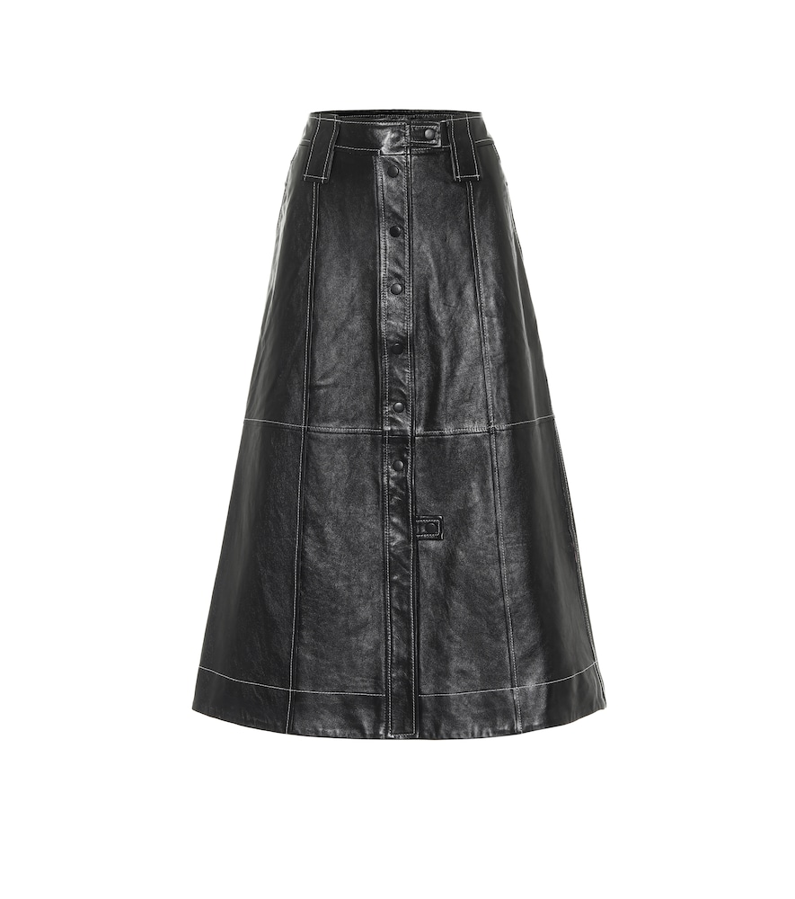 Ganni LEATHER MIDI SKIRT