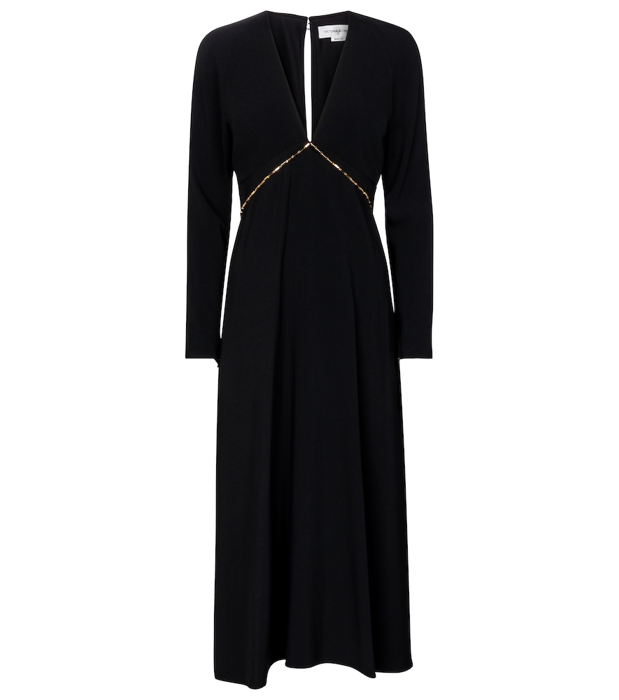 Chain-trimmed cady midi dress by Victoria Beckham