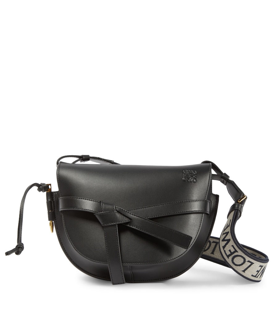 Gate Small leather and jacquard shoulder bag